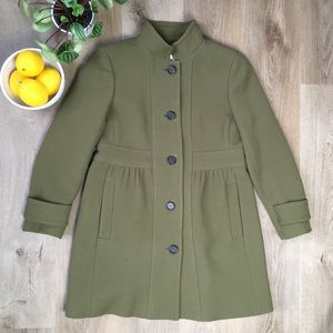 J. Crew Olive Green Wool Coat sz P12